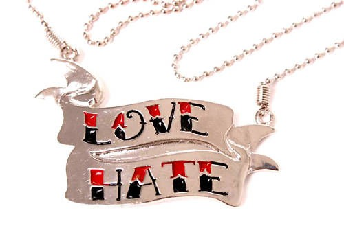 LOVE HATE Tattoo Banner Rockabilly Halskette Kette EMO – Bild 1