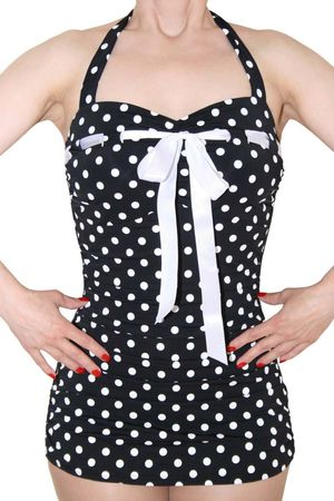 MARYNN Polka Dots 50er retro Pin Up Rockabilly Badeanzug Swimsuit – Bild 2