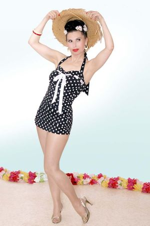 MARYNN Polka Dots 50er retro Pin Up Rockabilly Badeanzug Swimsuit – Bild 4