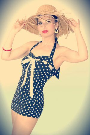 MARYNN Polka Dots 50er retro Pin Up Rockabilly Badeanzug Swimsuit – Bild 3