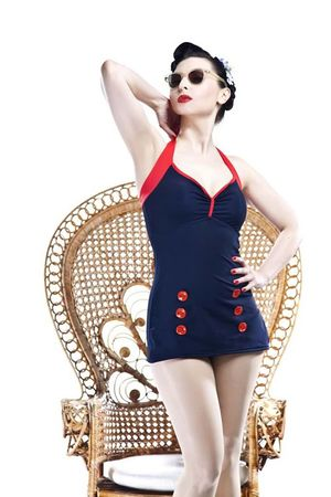 Retro Sailor 50s PIN UP Matrosen Vintage Style Badeanzug v. SugarShock – Bild 1