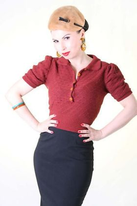 40er retro Strick Shirt Rockabilly vintage 40s Pullover