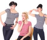 50s retro Ganja Streifen Sailor T-Shirt v. SugarShock 001