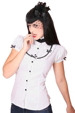 50er retro Polka Dots Stehkragen Bluse v. SugarShock