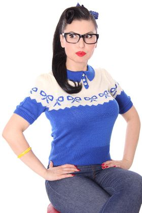 Berit 50s retro Rockabilly Bow Jumper Strick Shirt – Bild 4