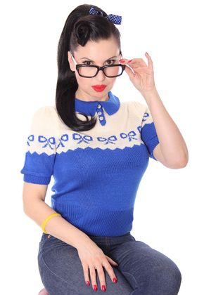 Berit 50s retro Rockabilly Bow Jumper Strick Shirt – Bild 6
