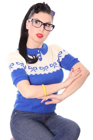 Berit 50s retro Rockabilly Bow Jumper Strick Shirt – Bild 5
