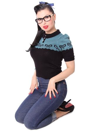 Berit 50s retro Rockabilly Bow Jumper Strick Shirt – Bild 10