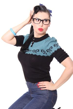 Berit 50s retro Rockabilly Bow Jumper Strick Shirt – Bild 11