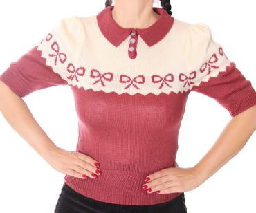 Berit 50s retro Rockabilly Bow Jumper Strick Shirt – Bild 18