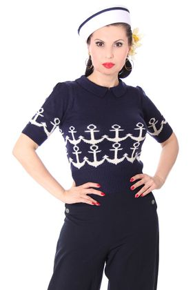 Gina 50s retro Rockabilly Ahoi Anker Jumper Strick Shirt