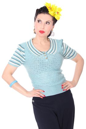 Gloria 40s retro Rockabilly Streifen Jumper Strick Shirt – Bild 3