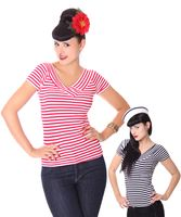 50s retro Pin Up Streifen Sailor V-Neck Shirt v. SugarShock