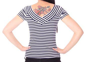 50s retro Pin Up Streifen Sailor V-Neck Shirt v. SugarShock – Bild 5