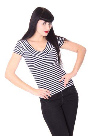 50s retro Pin Up Streifen Sailor V-Neck Shirt v. SugarShock – Bild 3