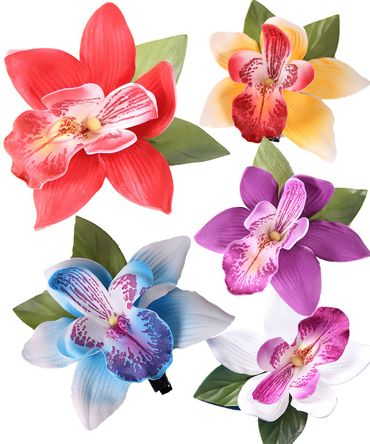 Orchideen Pin Up Moosgummi Haarblüte Haarclip – Bild 1