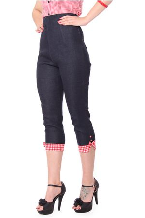 Netty 50er retro Pin Up Denim Gingham Caprihose 3/4 Hose v. SugarShock – Bild 4