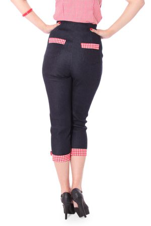 Netty 50er retro Pin Up Denim Gingham Caprihose 3/4 Hose v. SugarShock – Bild 7