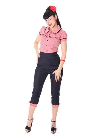 Netty 50er retro Pin Up Denim Gingham Caprihose 3/4 Hose v. SugarShock – Bild 1
