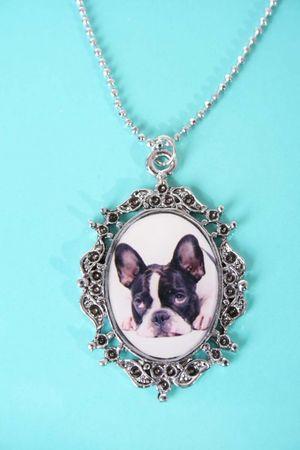 Französische Bulldogge Rockabilly  Halskette – Bild 1