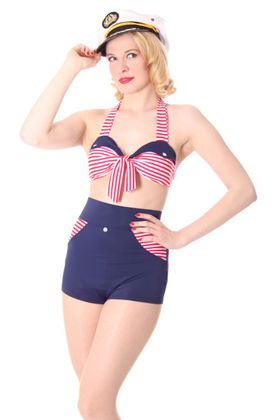 KIM Sailor Streifen Pin Up 50er retro Uniform Bikini – Bild 3
