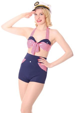 KIM Sailor Streifen Pin Up 50er retro Uniform Bikini – Bild 1