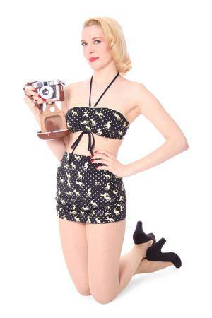 VALERIA Rehkitz Deer Polka Dots Pin Up 50er retro Bikini – Bild 2