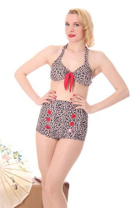 TONI Leoparden Leo Pin Up Button 50er retro Bikini – Bild 2