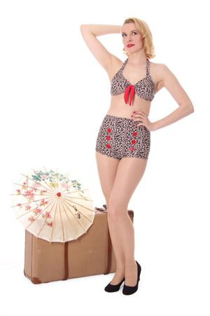 TONI Leoparden Leo Pin Up Button 50er retro Bikini