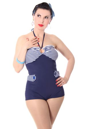 GRIT 50er retro Sailor Streifen Uniform PIN UP Badeanzug