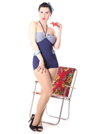 GRIT 50er retro Sailor Streifen Uniform PIN UP Badeanzug – Bild 3