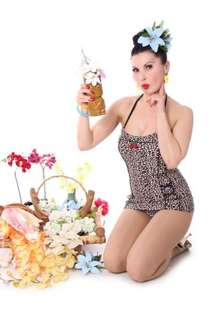LOTTA 50er retro Leoparden Bandeau PIN UP Badeanzug – Bild 1