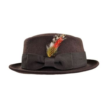 Feather Crushable Pork Pie 30er 40er retro Hut m. Feder ungefüttert – Bild 6