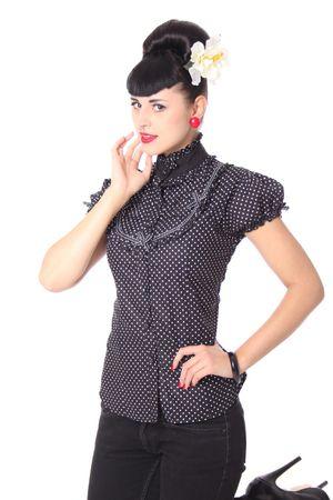 Romina 50er retro Polka Dots Stehkragen Bluse v. SugarShock – Bild 4