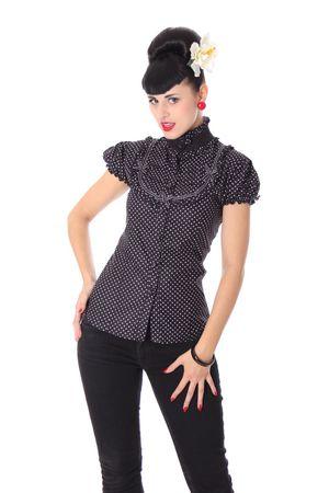 Romina 50er retro Polka Dots Stehkragen Bluse v. SugarShock – Bild 8
