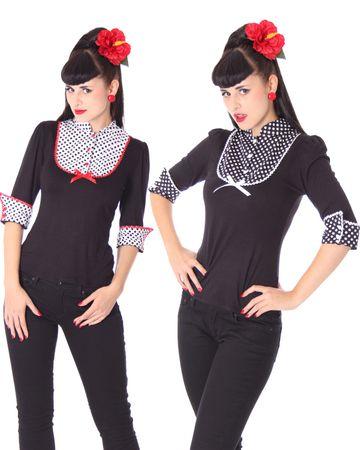 LENI retro Polka Dots Longsleeve 3/4 Arm Shirt v. SugarShock – Bild 1