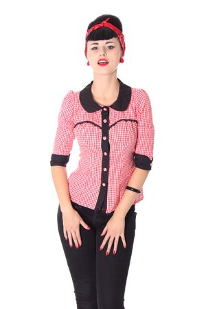 Raquel 50er retro Gingham 3/4 Arm Bluse v. SugarShock
