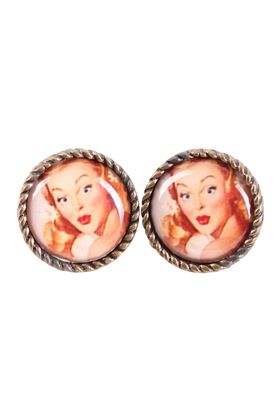 50s retro Pin Up Face Amulett Ohrstecker – Bild 2