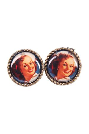 50s retro Sailor Pin Up Face Amulett Ohrstecker – Bild 2