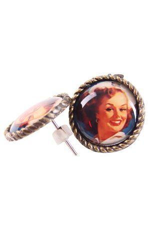 50s retro Sailor Pin Up Face Amulett Ohrstecker