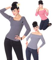 Panja 50s retro Pin Up Streifen Longsleeve v. SugarShock
