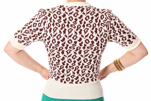 Francesca 50s retro Rockabilly Leoparden Jumper Strick Shirt v. SugarShock – Bild 10
