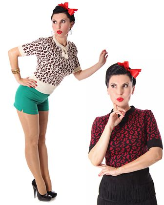 Francesca 50s retro Rockabilly Leoparden Jumper Strick Shirt v. SugarShock – Bild 2