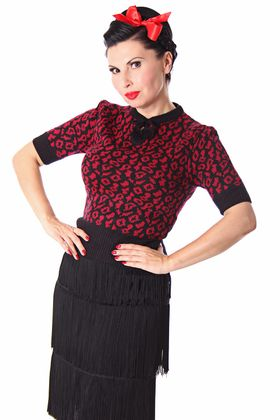 Francesca 50s retro Rockabilly Leoparden Jumper Strick Shirt v. SugarShock – Bild 1