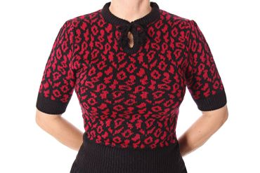 Francesca 50s retro Rockabilly Leoparden Jumper Strick Shirt v. SugarShock – Bild 5