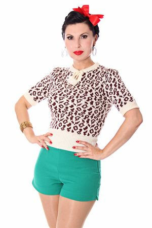 Francesca 50s retro Rockabilly Leoparden Jumper Strick Shirt v. SugarShock – Bild 7