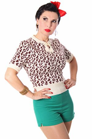 Francesca 50s retro Rockabilly Leoparden Jumper Strick Shirt v. SugarShock – Bild 12