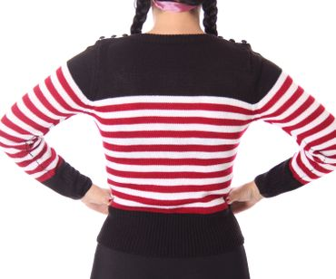 30er 40er retro Letty Streifen Uniform Pullover Jumper Strickshirt v. SugarShock – Bild 17