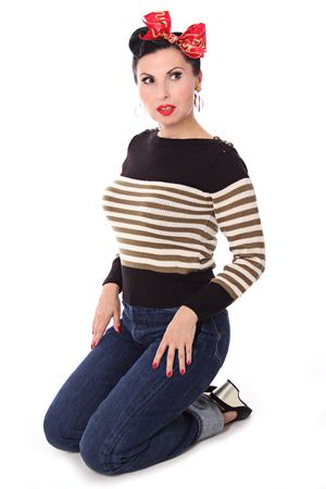 30er 40er retro Letty Streifen Uniform Pullover Jumper Strickshirt v. SugarShock – Bild 8