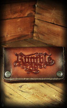 RUMBLE 59 Sunburst geprägte Echtleder Vintage Style Geldbörse m. Kette – Bild 6